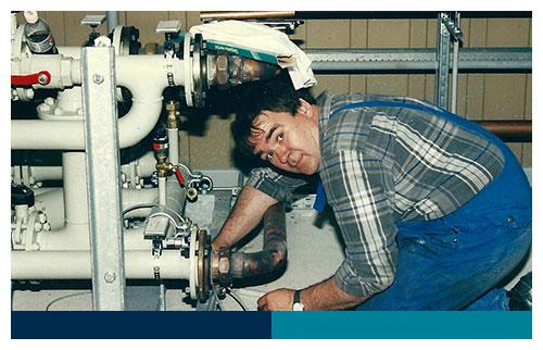 Arno Vertein ist seit 1988 im Betrieb. Arno hat sich vom Servicetechniker zum Serviceleiter hochgearbeitet.